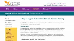 5 Ways to Support Youth with Disabilities home page screenshot