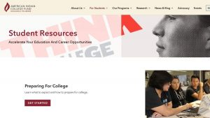 Home page screenshot American Indian College Fund