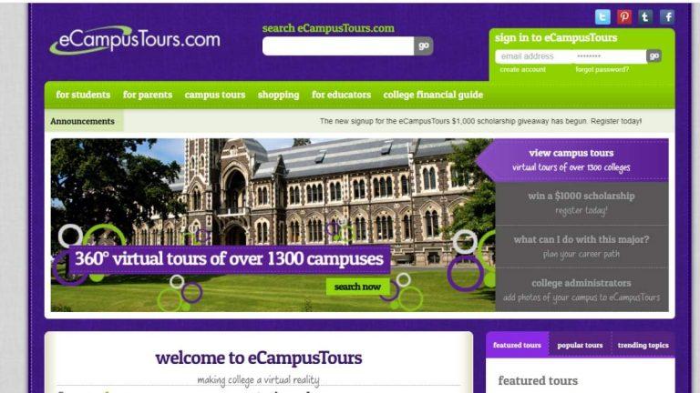 ecampus tours home page screenshot