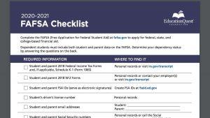 Screenshot of FAFSA Checklist PDF