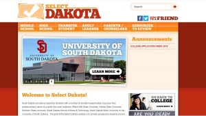 select dakota home page screenshot