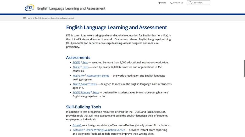 TOEFL test home page screenshot