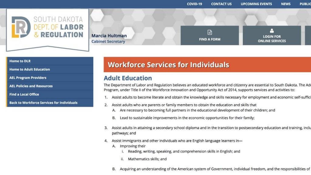 Home page screenshot SD Adult Education Workforce Services