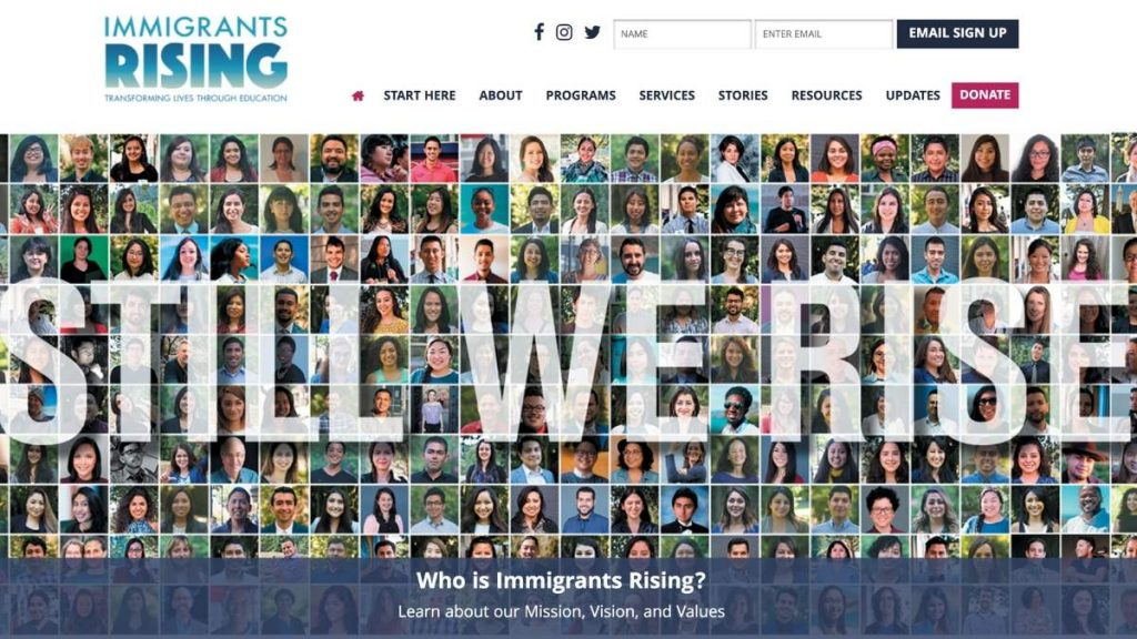 immigrants rising home page screenshot