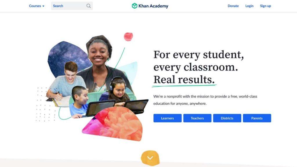 khan academy home page screenshot