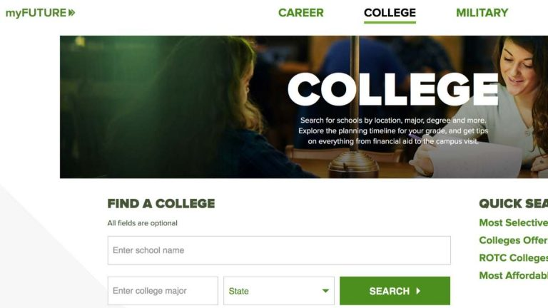 my future college resources page screenshot