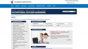 occupational outlook handbook home page screenshot