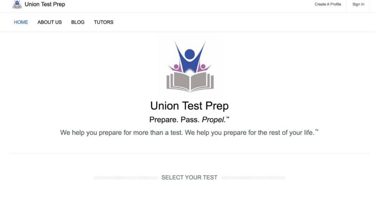union test prep home page screen shot