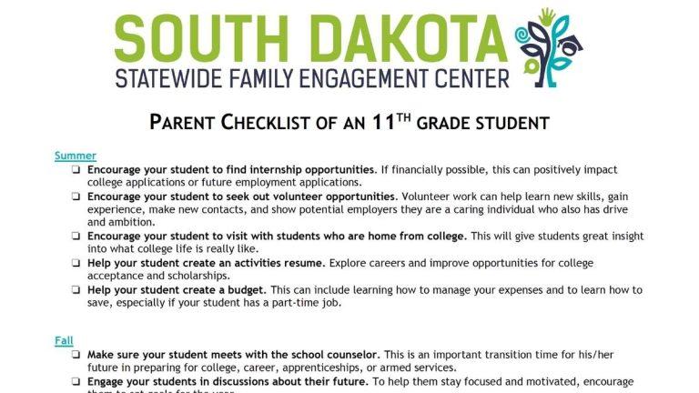 Image of 11th grade parent checklist