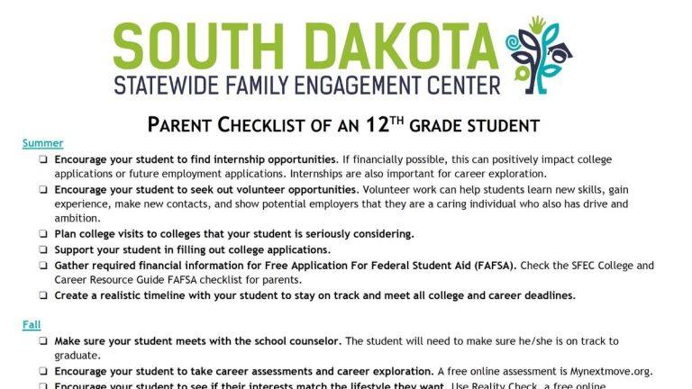Image of 12th grade parent checklist