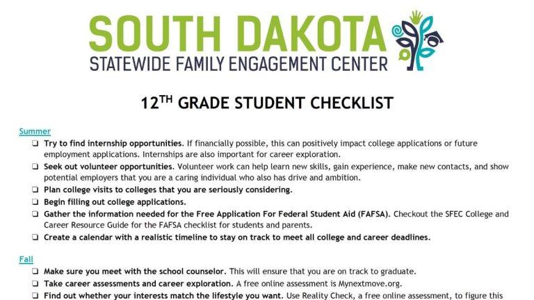 Image of 12th grade student checklist
