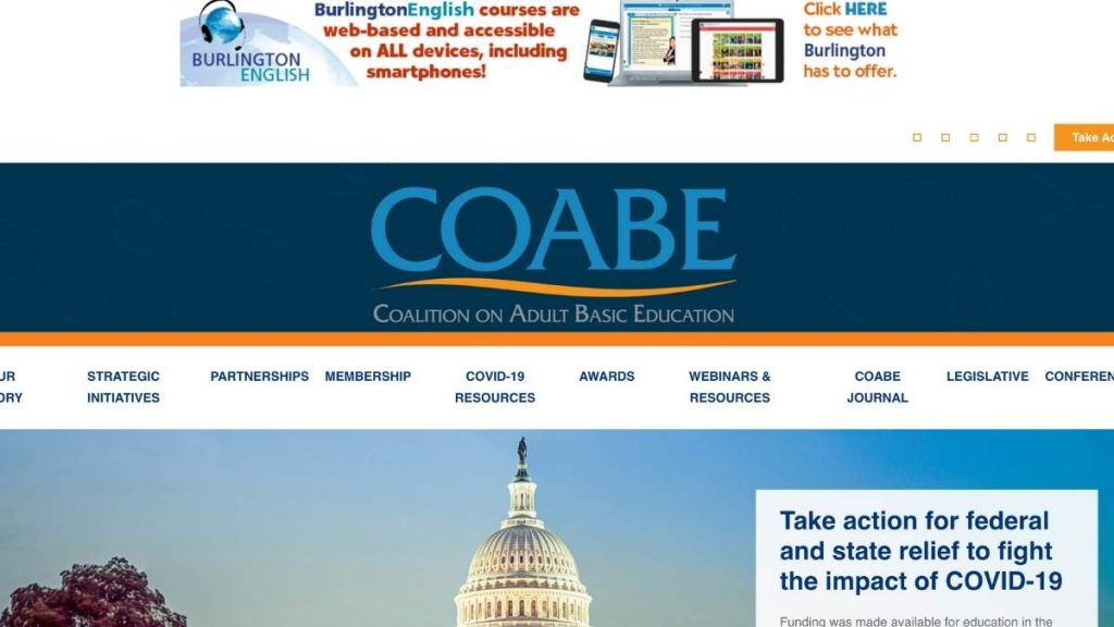 screenshot of COABE website