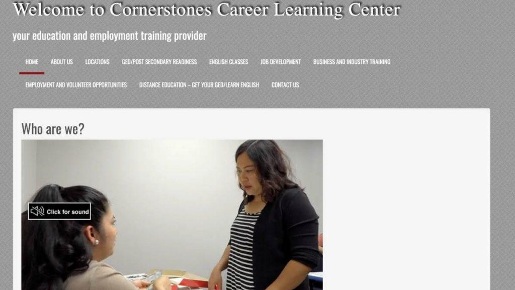 screenshot of cornerstone career center website