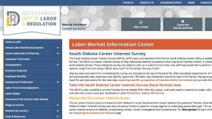screenshot of SD Labor Market Information web page