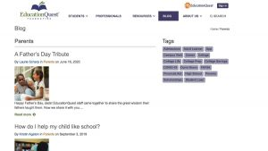 screen shot of Education Quest website