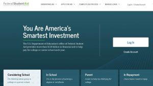 screenshot Federal Student Aid website