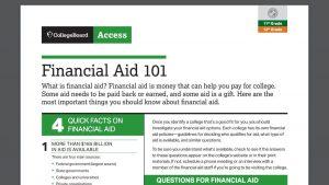 screenshot of Financial Aid 101 PDF