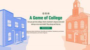 screenshot of game of college website