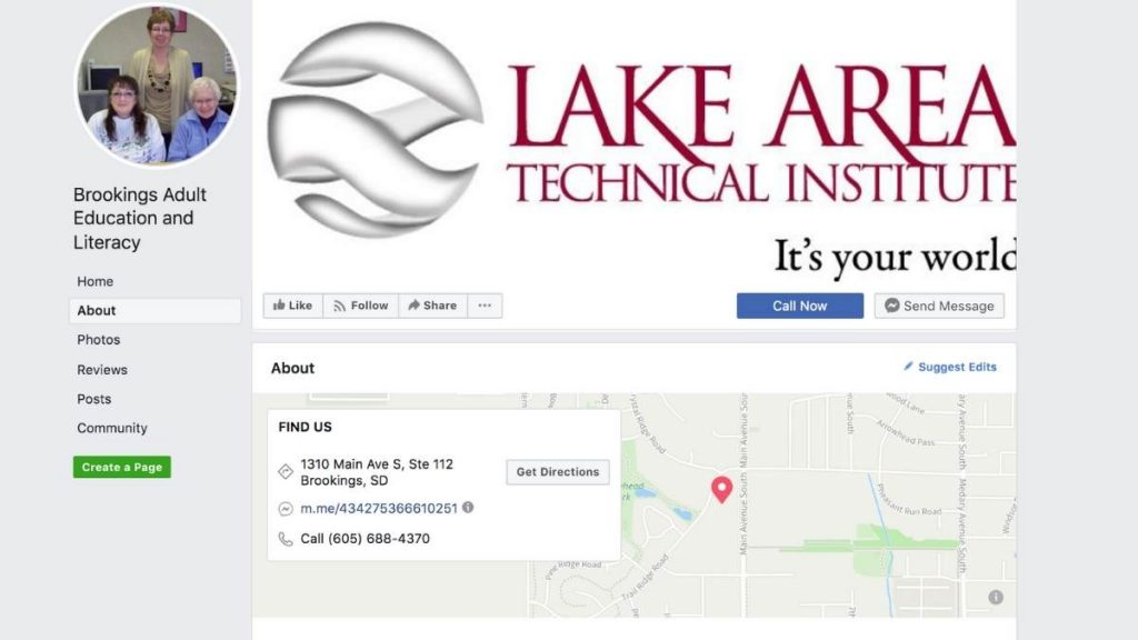 screenshot of lake area tech adult education facebook page