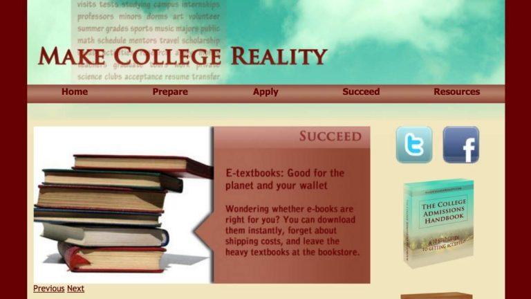 Screenshot of Make College Reality website