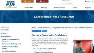 screenshot of PTA Career Readiness website