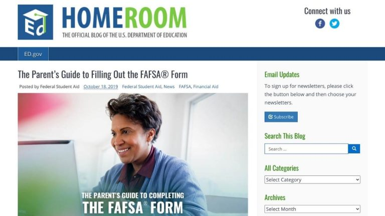 Screenshot of Parent's Guide to FAFSA web page