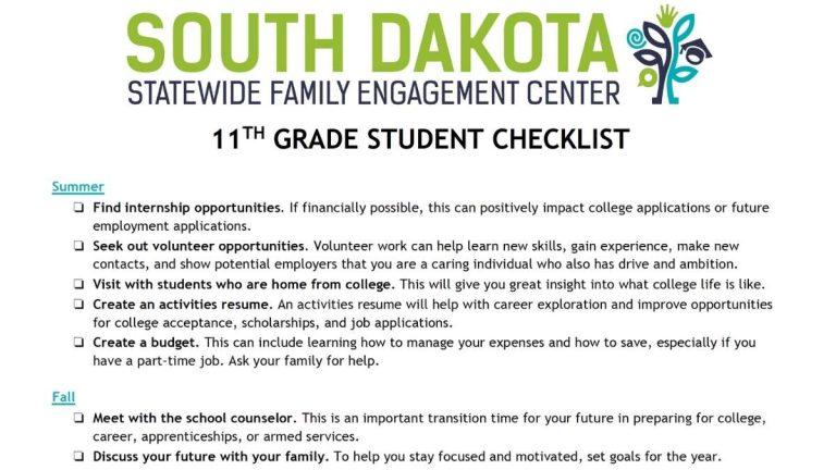 Image of 11th Grade Student Checklist