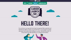 screen shot of SD Career Launch website