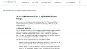 screenshot of FAFSA app web page