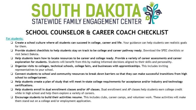 Image of school counselor and career coach checklist