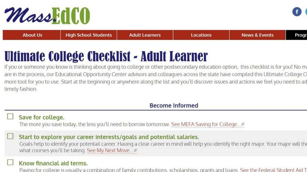 Screenshot of MassEdCo College Checklist web page