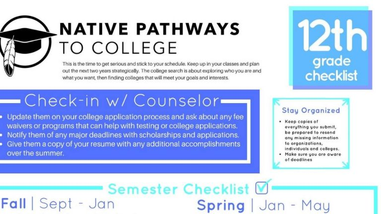 Screenshot of Native Pathways to College Checklist web page