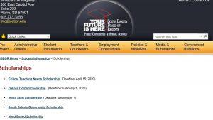 Image of SD Board of Regents Scholarships website