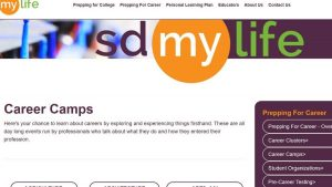 Image of SDMyLife Career Camps web page