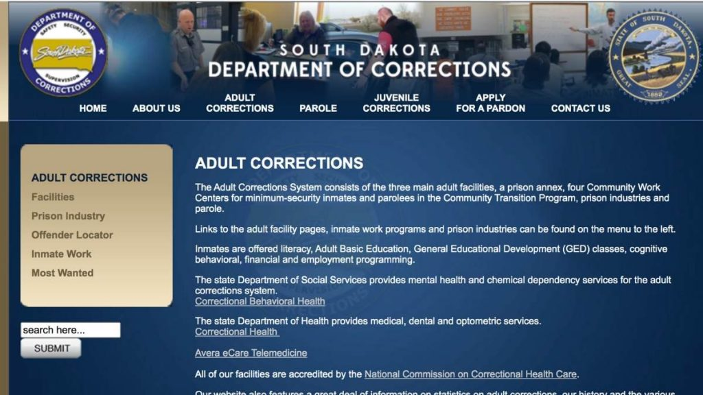 Screenshot of Department of Corrections website