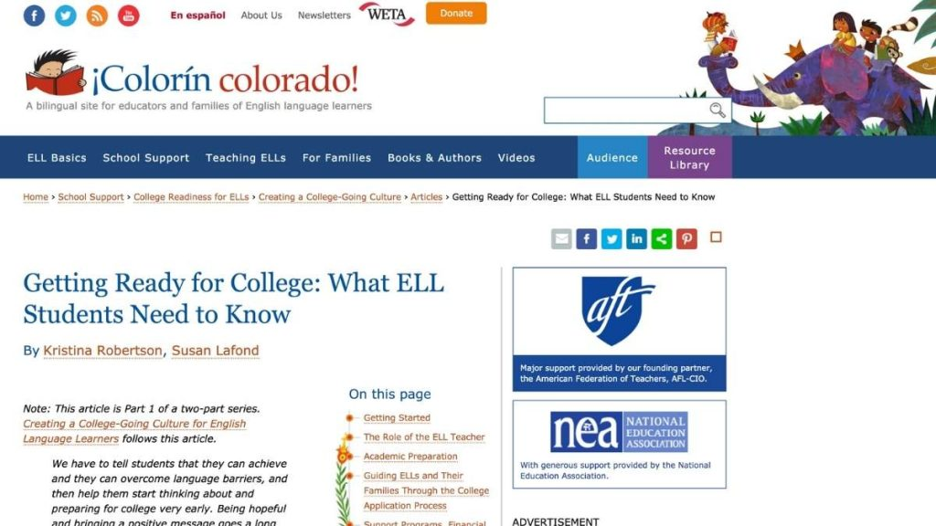 Screenshot of Getting Ready for College_ What ELL Students Need to Know article