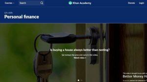 Screenshot Khan Academy Personal Finance website
